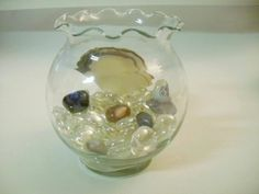 Beta Fish Bowl ~ Gold Fish Bowl With Scalloped Edges~Glass Stones And Gemstones