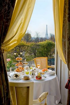 Breakfast with a View.  Supposed to be one of the best restaurants in #France. #LeMeurice