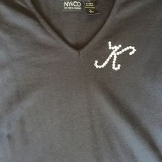 Swarovski Rhinestone Monogram Black V Neck Tee K Weekend SALE!!! This is a custom designed top! Black 3/4 length sleeve v neck tee shirt with a K monogrammed in Swarovski Rhinestones! It has been hanging in my closet for several years and I just haven't worn it. New York & Company Tops