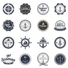 Retro Nautical icons – vector graphics