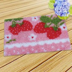 Sofa Cushion Covers, Cushions On Sofa, Latch Hook Rug Kits, Strawberry Baby, Crochet Cushions, Colorful Drawings, Color Card, Rug Hooking, Embroidery Thread