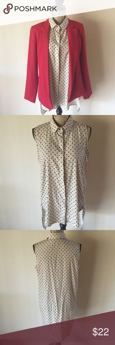 Beige & Black Asymmetrical Sleeveless Blouse Gorgeous beige and black polka dot sleeves blouse is great for any occasion. Can be worn alone or with just about any colored blazer.  Worn only twice; a little too snug for my 38+ cup. Excellent condition👍. 🚫Blazer not included🚫 Tops Blouses