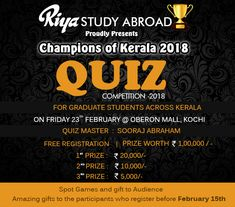 Champions Of Kerala 2K18 - Quiz Competition !!! Are you ready???? Register now !!! http://riyaeducation.com/quiz/