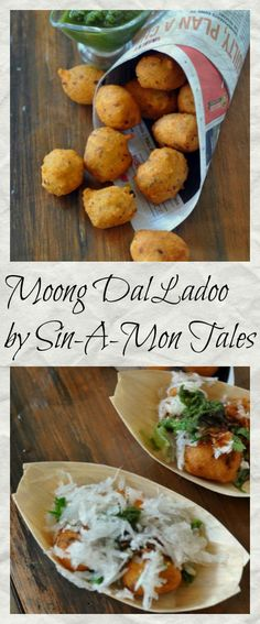 Delhi Street Style Moong Dal Ladoo/pakora: a very popular street food of Delhi, served with grated radish & chutneys this tops my list of 5 street food of delhi. Here is a recipe to help you make it at home Japanese Street Food, Thai Street Food, Indian Street Food, Japanese Food, Indian Snacks, Indian Food Recipes, Vegetarian Recipes, Ethnic Recipes, Chutneys