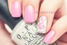 Pink argyle nail art manicure nail polish Essie - Cascade Cool argyle manicure tutorial...x