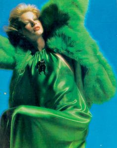 Shirley Ann Hayes by Jean Jacques Bugat _ Vogue Italia, December long green dress silky gown halter bias cut retro vintage fashion style color print ad feather fur coat matching blond model photo Seventies Fashion, 60s And 70s Fashion, Studio 54 Fashion, Vogue Photo, 70s Glam, Magazine Pictures, Vintage Fashion Photography, Fashion Images, Couture