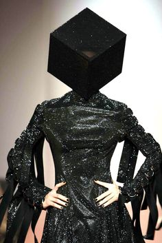 Swarovski crystal-encrusted cube-shaped hat created by Nasir Mazhar for the fashion designer Gareth Pugh in 2008.