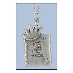 Amazon.com: DR - Religious & Inspirational Jewlery, Silver Tone God is Love with Crown Pendant Necklace: Everything Else