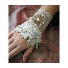 Antique Crochet Lace Cuff with Pearl Brooch Embellishment . Lace Jewelry, Textile Jewelry, Fabric Jewelry, Jewellery, Lace Cuffs, Lace Gloves, Lace Bracelet, Cuff Bracelets, Lace Earrings