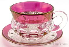 Kings Crown Glass - U.S. Glass Co. - Catalog 4016-23 - Cup And Saucer in Ruby Stain
