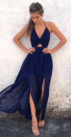 summer outfits Navy Cut-out Maxi Dress Metallic Sandals
