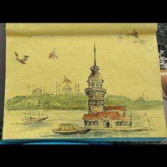 Картинки по запросу девичья башня стамбул рисунки