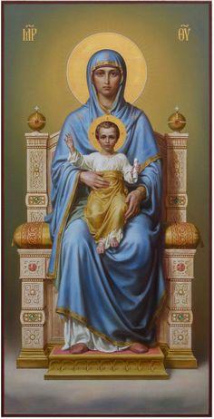 Богородица на престоле, икона в академическом стиле