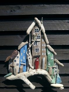 Drivtømmer by. Driftwood town/houses.  Designed by EVAS. #DriftWoodCrafts