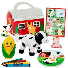 Barnyard Party Favor Box Each box includes:a Barnyard Sticker Sheet, Barnyard notepad, 4 primary crayons, a corn squirter and a plush cow. Please Note: One or more of the party favors included in this