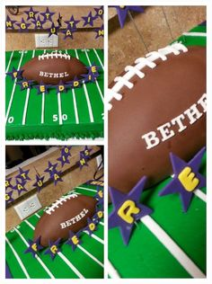 Full sheet Cake frosted with Buttercream. Football made with RTK covered in white fondant than sculpted into football final cover of chocola. Sports Birthday Cakes, Birthday Parties, 8th Birthday, Fondant Cakes, Cupcake Cakes, Cupcakes, Rice Krispie Treats, Rice Krispies, Football Food
