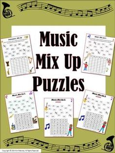 Music lessons for kids. Music Word Mix Ups! This file contains FIVE Music Word Mix Up puzzles aimed at reinforcing students' understanding and knowledge terms use. Music Education Games, Music Activities, Music Games, Teaching Music, Piano Games, Learning Piano, Music Mix, Teaching Tools, Teaching Ideas