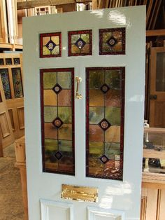 A Victorian Style Stained Glass Front Door - Stained Glass Doors Company Stained Glass Door, Glass Panel Door, Glass Front Door, Stained Glass Designs, Stained Glass Panels, Sliding Glass Door, Glass Doors, Leaded Glass, Beveled Glass