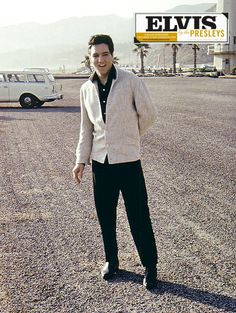 Elvis at the pier, Santa Monica, CA awaiting Priscilla's arrival from the airport. She was to spend Christmas with Elvis and then return to Germany. Elvis was shooting a movie at the time.