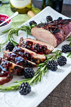 Pork tenderloin is marinated in a blackberry & rosemary marinade, grilled to perfection, and then drizzled with a thick blackberry & rosemary sauce for a little added flavor. It's a great meal to spice up the weeknight dinners or enjoy for date night in. Rosemary Pork Tenderloin, Turkey Tenderloin, Pork Tenderloin Recipes, Pork Recipes, Roast Brisket, Game Recipes, Pork Roast, Pork Chops, Chicken Recipes