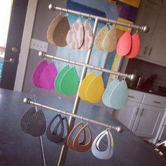 In love with this display found to hang all her Such a gorgeous collection! Leather Crafts, Leather Projects, Diy Jewelry, Jewelry Making, Nickel And Suede, Cricut Craft Room, Leather Earrings, Jewellery Display, Cricut Ideas