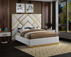 Meridian Furniture Vector Gray Gold metal / gray velvet contemporary king bed Take your bedroom space to a Luxury Bedroom Design, Bedroom Bed Design, Bedroom Furniture Design, Bed Furniture, Bedroom Designs, Master Bedroom, Bedroom Inspo, Bedroom Decor, Bedroom Ideas