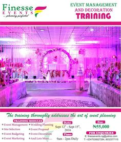 Event training session is here! It promises to be everything you need to become that world-class event planner/decorator you crave. Enroll in our 4 days intensive event planning/decoration training that will impart to your in-depth knowledge of the art of event planning decorationmanagement and lots more Training Schedule Date: Sept 12th  Sept 15th  2016 Time: 9am Daily  Fee: N55000 Venue: 39 Bode Thomas Surulere Lagos Training modules Event management Wedding planning Site selection Event…