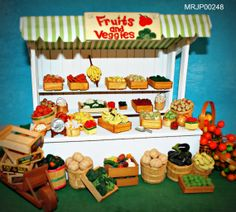 Dollhouse Miniature Fruit & Vegetable Stand