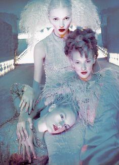 'Si, la couture m'était contée'. Jodie Kidd, Guinevere Van Seenus and Chrystelle Saint-Louis Augustin by David LaChapelle | Vogue Paris September 1995.