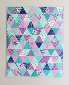 Lavender Blue Baby Quilt In 💗 with these colors! Quilt Baby, Baby Quilt Patterns, Baby Girl Quilts, Girls Quilts, Blue Quilts, Scrappy Quilts, Owl Quilts, Memory Quilts, Owl Patterns