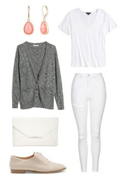 White on white clothing has been a trend for a while now, and I see no signs of it stopping. Keep your appearance clean and dreamy with a white tee, jeans, and a simple clutch. Keep warm with a grey knit cardigan and stay neutral with some nude oxfords. Polish the look with dangly earrings and run off to chase your dreams.
