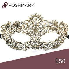 """⤵⤵#7 Masquerade Party Gold Venetian Lace Mask House Clearance! ^_^ New Arrival! ( 11 Design Available! ) 1pc x Masquerade Party Gold Venetian Lace Mask. Approx Size: 8""""×3.5"""" Ribbon: 12"""" each side. Sturdy Shape. Polyester Nylon Knitted No Heat. Only few available! Perfect for any special party, prom, costume party, ball mask, halloween, cleopatra, venetian, goddess exquisite look! (Bundle Offer Highly Recommend) **Extra stitching on the connection of ribbon if needed up to new owner** All…"""