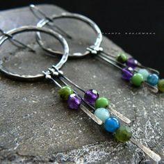 Jewelry Crafts, Jewelry Ideas, Jewelry Design, Wire Earrings, Glass Earrings, Vintage Earrings, Earrings Handmade, Metal Jewelry, Silver Jewelry