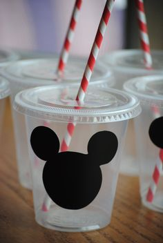 12 Mickey Mouse Party Cups with lids and straws by mlf465 on Etsy, $13.00