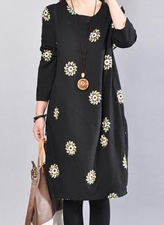 Cotton Floral 3/4 Sleeves Shift Dress