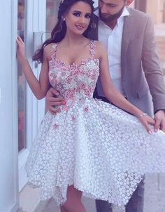 Cheap homecoming dresses Glamorous A-Line Spaghetti Straps White #Short Homecoming Dress#HomecomingDresses#Short PromDresses#Short CocktailDresses#HomecomingDresses