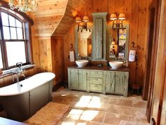 rustic country bathroom with green vanity