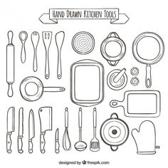 Hand drawn collection of kitchen tools Free Vector