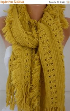 ON SALE  Mustard Knitted Lace ScarfChristmas Gift by fatwoman