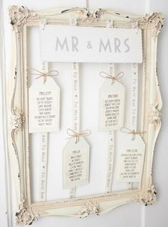 How to make your own vintage-style table plan...can do if your Spanish family get us a photo frame for when we arrive