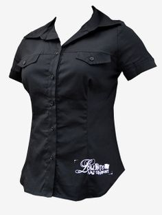 Womens Muse - Short Sleeve Button Up Blouse. Closure with buttons two  breast pockets front 0d20333eaf46