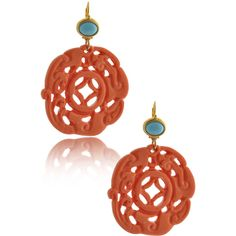 KENNETH JAY LANE Coral Carved Wire Earrings