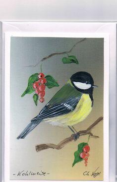Grüße - Grußkarte - Kohlmeise, handgemalt - ein Designerstück von Vogelmalerin bei DaWanda