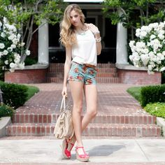 Bright blue floral shorts & pink wedges ♥