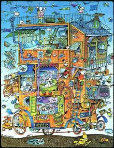 Solve House on wheels jigsaw puzzle online with 130 pieces Illustrators, Fantasy House, Fantastic Art, Nostalgic Art, Illustration Art, Puzzle Art, Hidden Pictures, Art, Cartoon Art