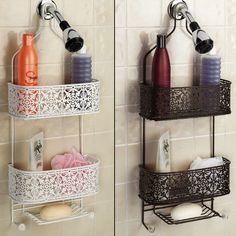 The Lace Plated Steel Hanging Shower Caddy is a decorative way to keep your bath items neat and tidy. Shower caddy has a powder coat rust-resistant finish and includes a nylon neck grip to protect your shower head. Hanging Shower Caddy, Shower Storage, Bathroom Storage, Bathroom Ideas, Shower Caddies, Bathroom Closet, Bathroom Inspo, Small Bathroom Shelves, Shower Shelves