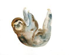 a-m-p-e-r-s-a-n-d: SLOTH Original watercolor painting 10x8inch