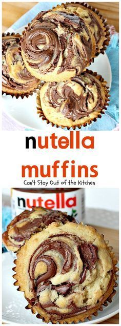 Oh my goodness, Nutella Muffins are heavenly. I have a confession to make. I've never tasted anything with Nutella before this. Quite frankly, I wondered wh (nutella mug cake parties) Muffin Nutella, Nutella Muffins, Nutella Spread, Chocolate Muffins, Nutella Biscuits, Desserts Nutella, Nutella Cupcakes, Recipes With Nutella, Nutella Frosting