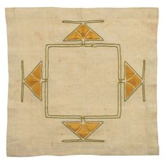 "Gustav Stickley (1858-1942) - Luncheon Linen. Embroidered Linen. Circa 1905. 15-3/4"" x 15-3/4""."