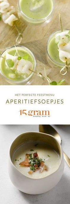 Het perfecte feestmenu: aperitiefsoepjes - My best finger food list Great Recipes, Soup Recipes, Healthy Recipes, Antipasto, Tapas, I Want Food, Snacks Für Party, Food Shows, Appetisers